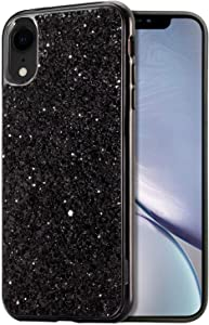 for iPhone XR Case,E-Desire Glitter Hard case for iPhone XR 6.1 inch, Crystal Sequins Design Bling Sparkle Dual Layer Hard PC Protective Back Cover for Apple iPhone XR 6.1 inch (2018 Release)-Black
