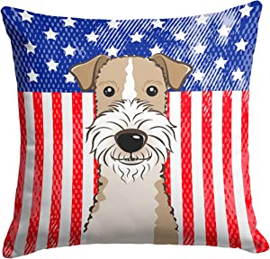 Caroline's Treasures BB2177PW1414 American Flag and Wire Haired Fox Terrier Fabric Decorative Pillow, 14Hx14W, Multicolor