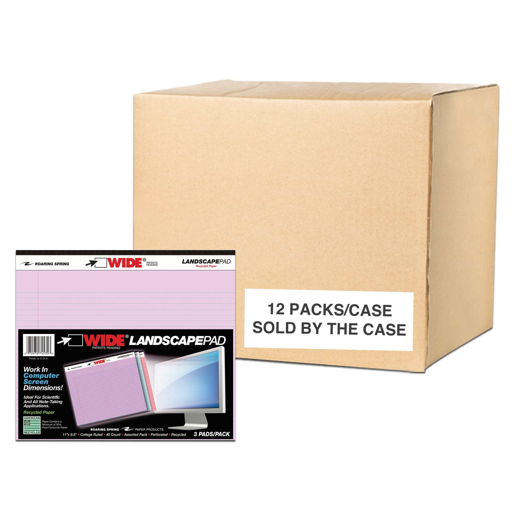 Case of 12 Packs of 3 Landscape Note Pads, 11''x9.5'', 40 sheets 16# Recycled pastel Paper Per Pads, 3 Assorted Colors, College Ruled by Roaring Spring