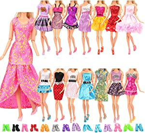 BARWA 12 Pcs Mini Dresses Handmade Doll Clothes with 10 Shoes Accessories for 11.5 Inch Girl Doll