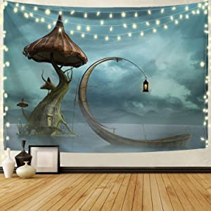 Joddge Flower Floral Tapestry Wall Hangings Mountain Tapestry Nature Landscape Tapestry for Bedroom Living Room Wall Mushroom Decor(51.2 x 59.1 inches)