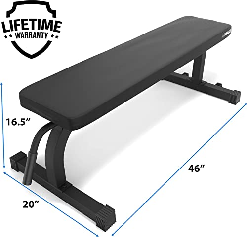 Synergee Flat Bench Workout Bench Perfect for Pressing Exercises Weight Bench for Dumbbell Barbell Press Workouts Great for Commercial, Garage and Home Gym