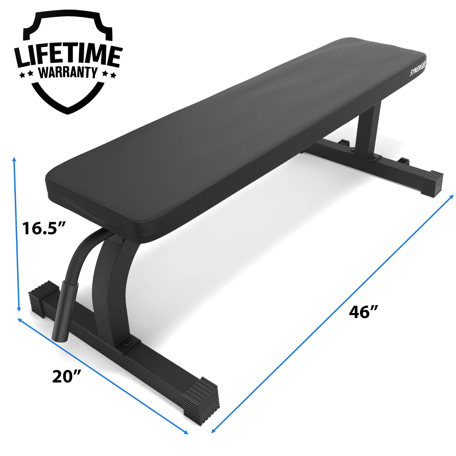 Synergee Flat Bench Workout Bench -Perfect for Pressing Exercises - Weight Bench for Dumbbell & Barbell Press Workouts - Great for Commercial, Garage and Home Gym by Synergee