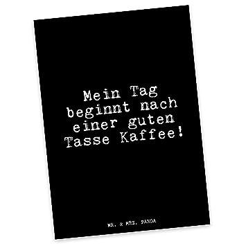 Mr Mrs Panda Postkarte Mit Spruch Mein Tag Beginnt Nach Einer