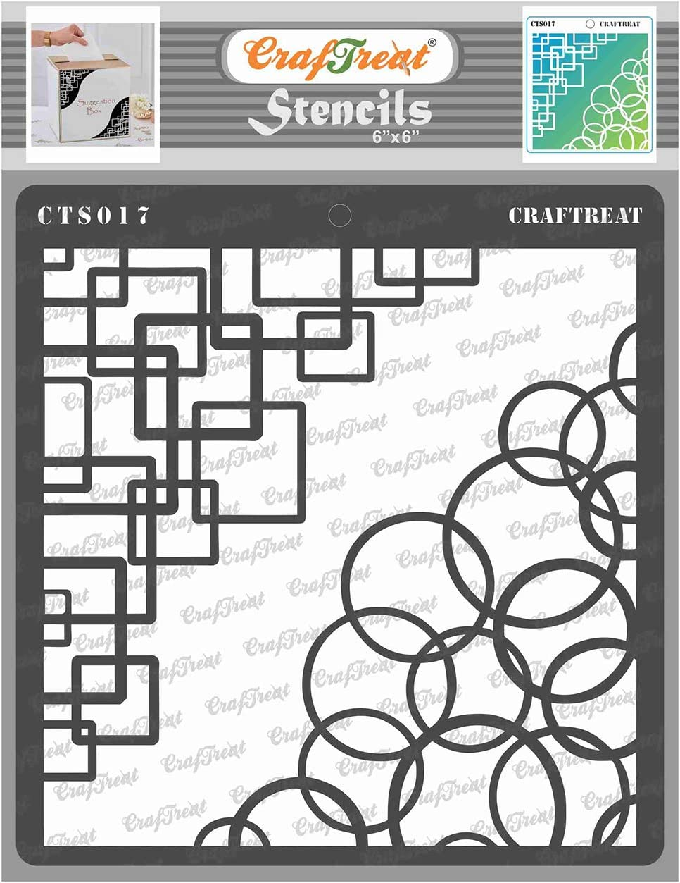 CrafTreat Geometric Corner Stencils for Painting on Wood, Wall, Tile, Canvas, Paper, Fabric and Floor - Retro Corner Stencil - 6x6 Inches - Reusable DIY Art and Craft Stencils