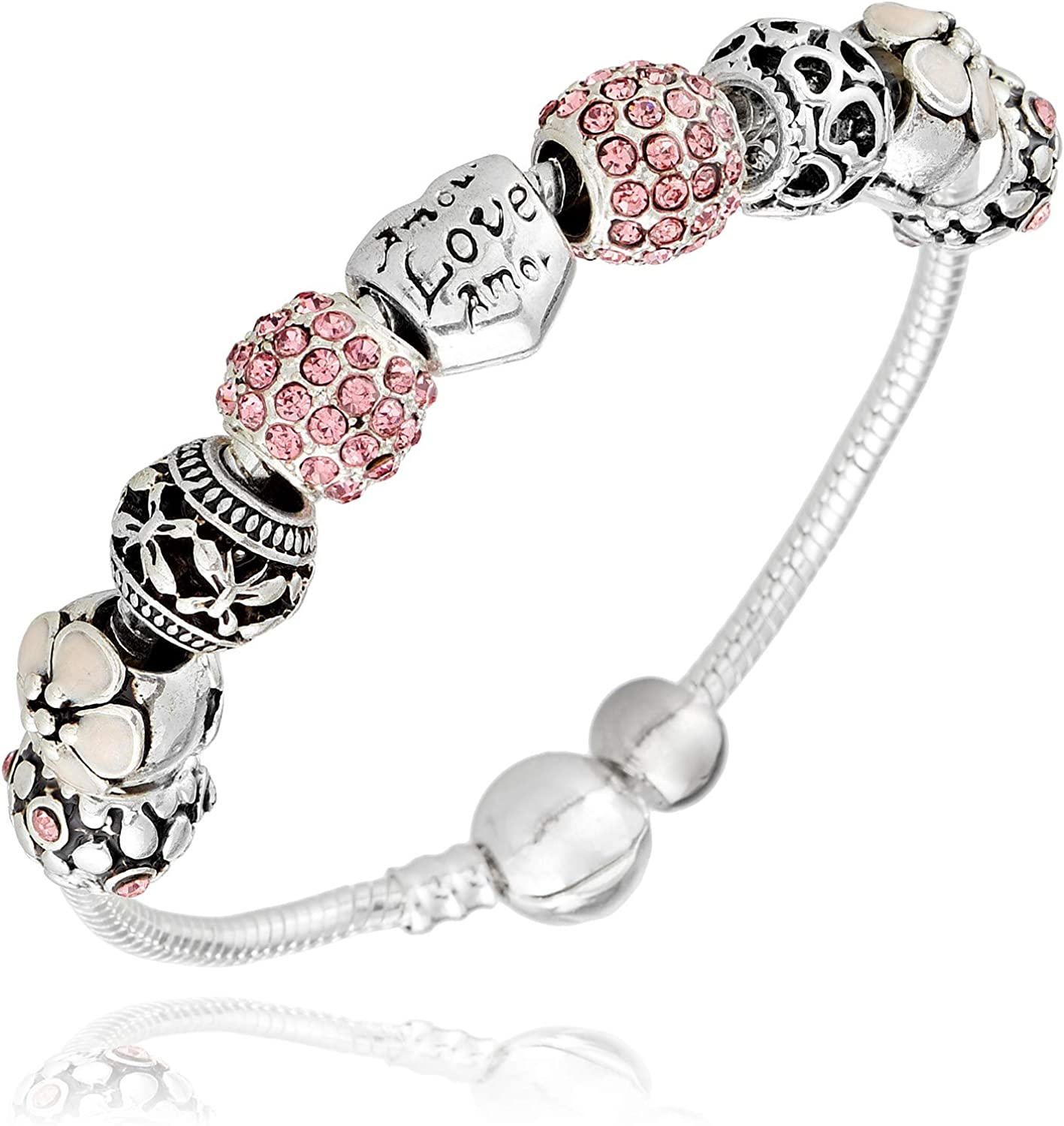 BAMOER Pulsera para Mujer Plata 925 Sterling Silver con Cubic Zirconia Cristal