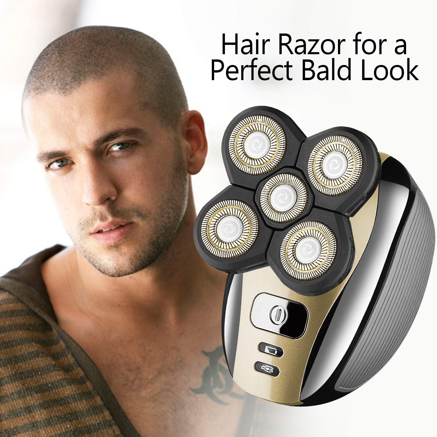 Men's Electric Razor Bald Head Shaver, Cordless Waterproof 5 In 1 Grooming Kit
