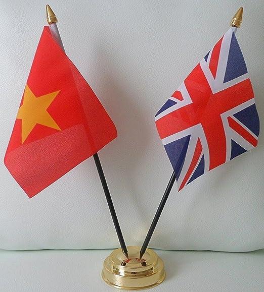 Adorno de mesa de amistad con banderas de Vietnam y del Reino Unido, con base dorada, ideal para fiestas, conferencias, oficina, presentación: Amazon.es: Hogar