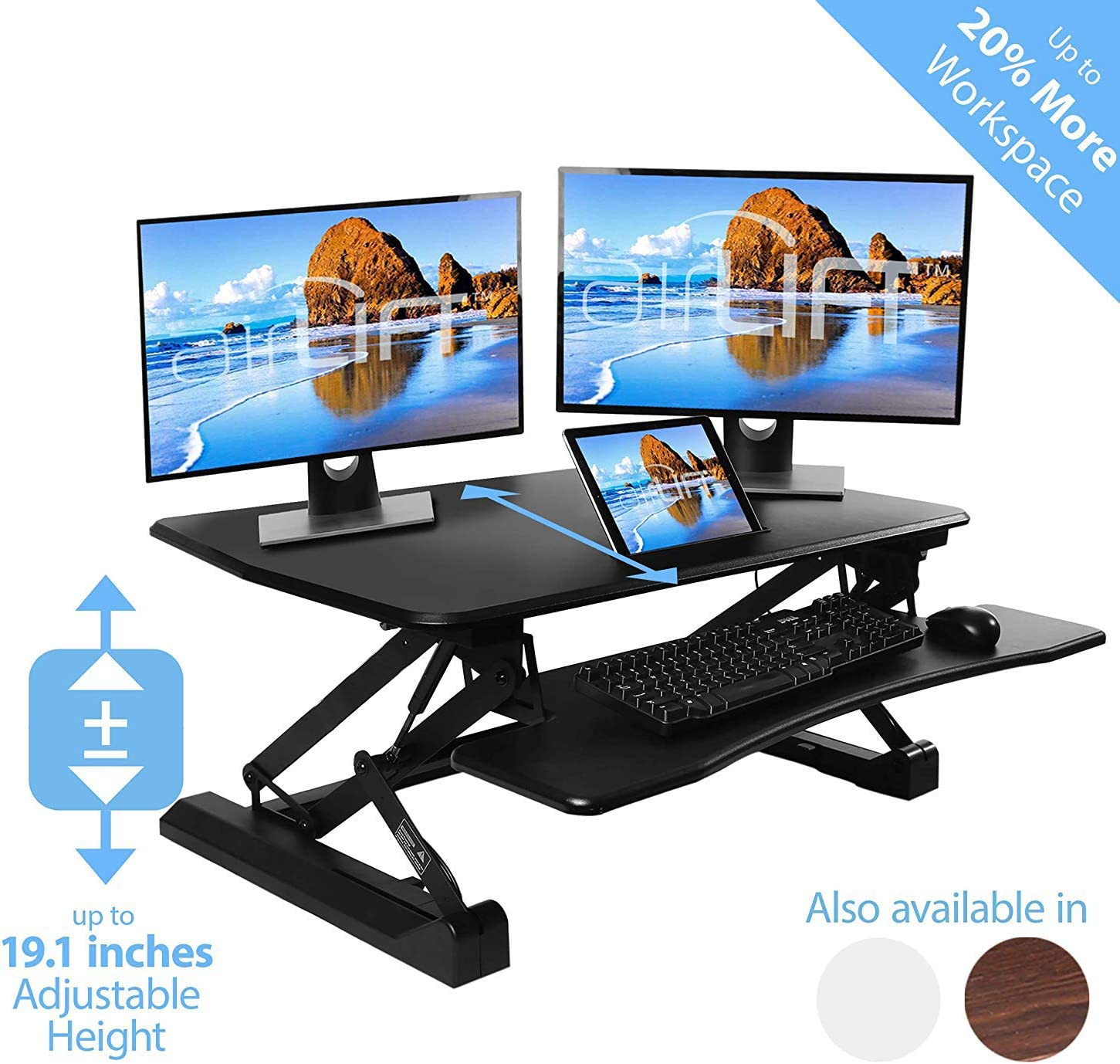 Seville Classics Airlift Adjustable Standing Desk Workstation
