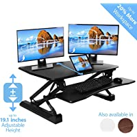"""Seville Classics airLIFT Height Adjustable Stand Up Desk Converter/Riser - Keyboard Tray, Dual Monitors, Quick Lift Levers Ergonomic Table, Full (36""""), Black"""