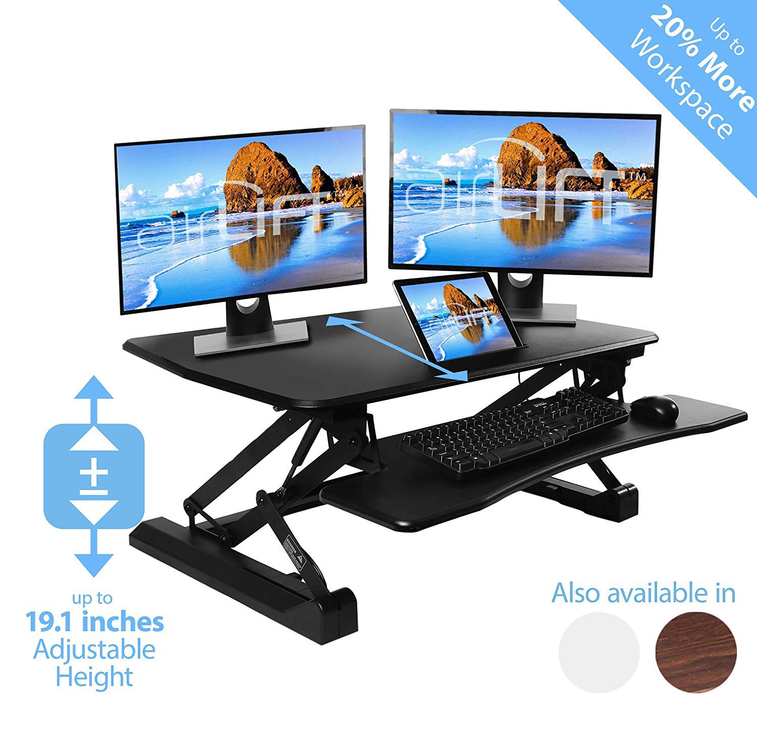 AIRLIFT 36'' Gas-Spring Height Adjustable Standing Desk Converter Workstation Ergonomic Dual Monitor Riser with Keyboard Tray and Phone/Tablet Holder, Black by Seville Classics