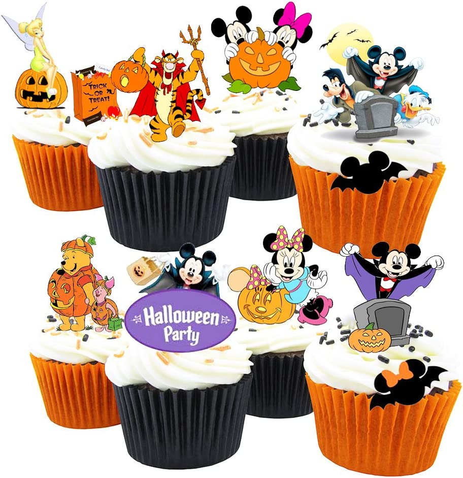 31 Mickey & Minnie Halloween Stand Up Premium Edible Wafer Paper Cake Toppers Decorations