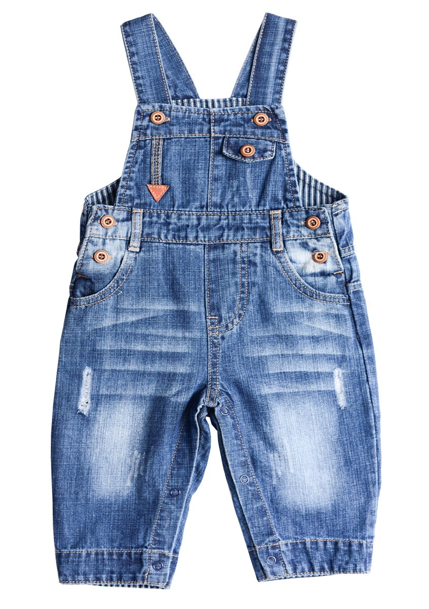 BUYIIT Baby&Little Boys/Girls Overall Washed Premium Soft Denim Dungarees Jean Jumpsuits