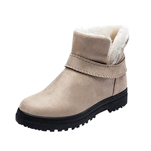 Women Snow Boots Faux Shearling Buckle Straps Low Heel Ankle Booties