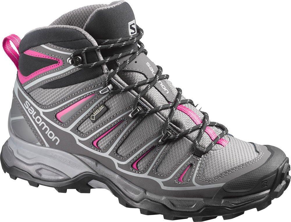 Salomon Women's X Ultra Mid 2 GTX Hiking Shoe, Detroit/Autobahn/Hot Pink, 7 M US
