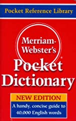 Merriam-Webster's Pocket Dictionary is a perfect dictionary for quick, on-the-go language reference. The book features 40,000 entries with clear, concise definitions. It includes variant spellings, pronunciations, and a list of abbreviations....