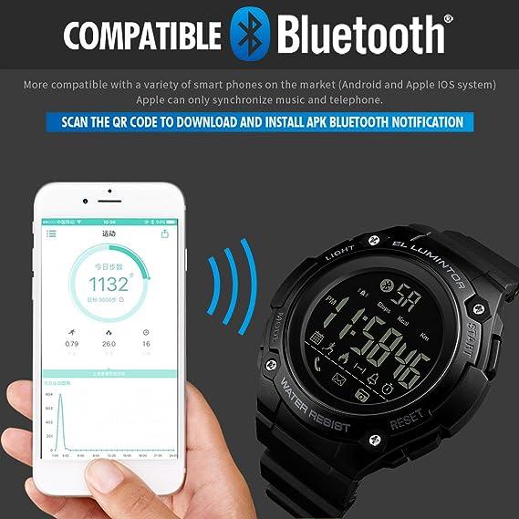 Reloj digital para hombre con Bluetooth, reloj inteligente deportivo, casual, militar, LED, esfera grande, multifunción, relojes electrónicos: Amazon.es: ...