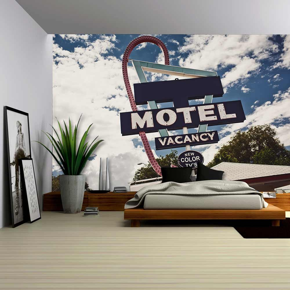wall26 - Old Motel Sign on Route 66, Usa - Removable Wall Mural | Self-adhesive Large Wallpaper - 100x144 inches