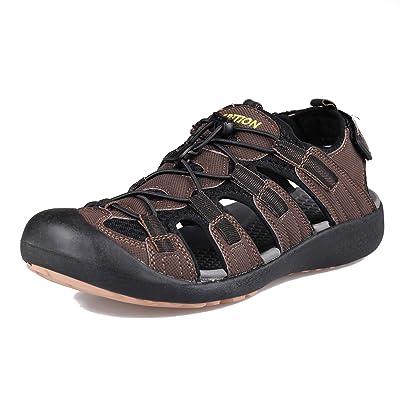 GRITION Men's Outdoor Hiking Sandals Protective Topcap Water Shoes Athlatic Sport Walking Sandals Waterproof Quick Dry   Sport Sandals & Slides