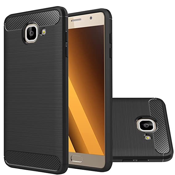 promo code 978ab e80bb Samsung Galaxy J7 Max Case,Ultra Thin Light Weight Case Flexible TPU Bumper  Carbon Fiber Shock Absorbing Slim Fit Back Cover for Galaxy J7 Max (Black)