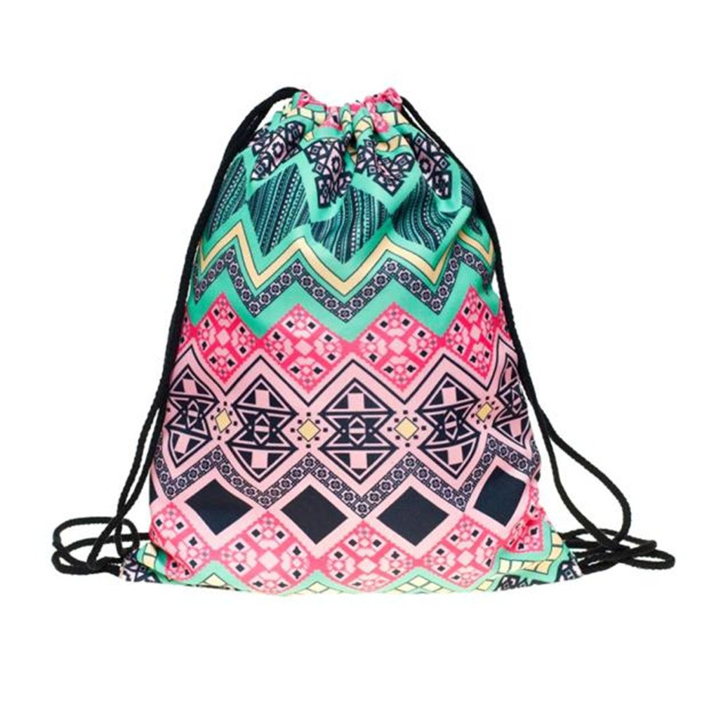 Backpack,Doinshop Laides Retro Geometric Printing Drawstring Bags (B)