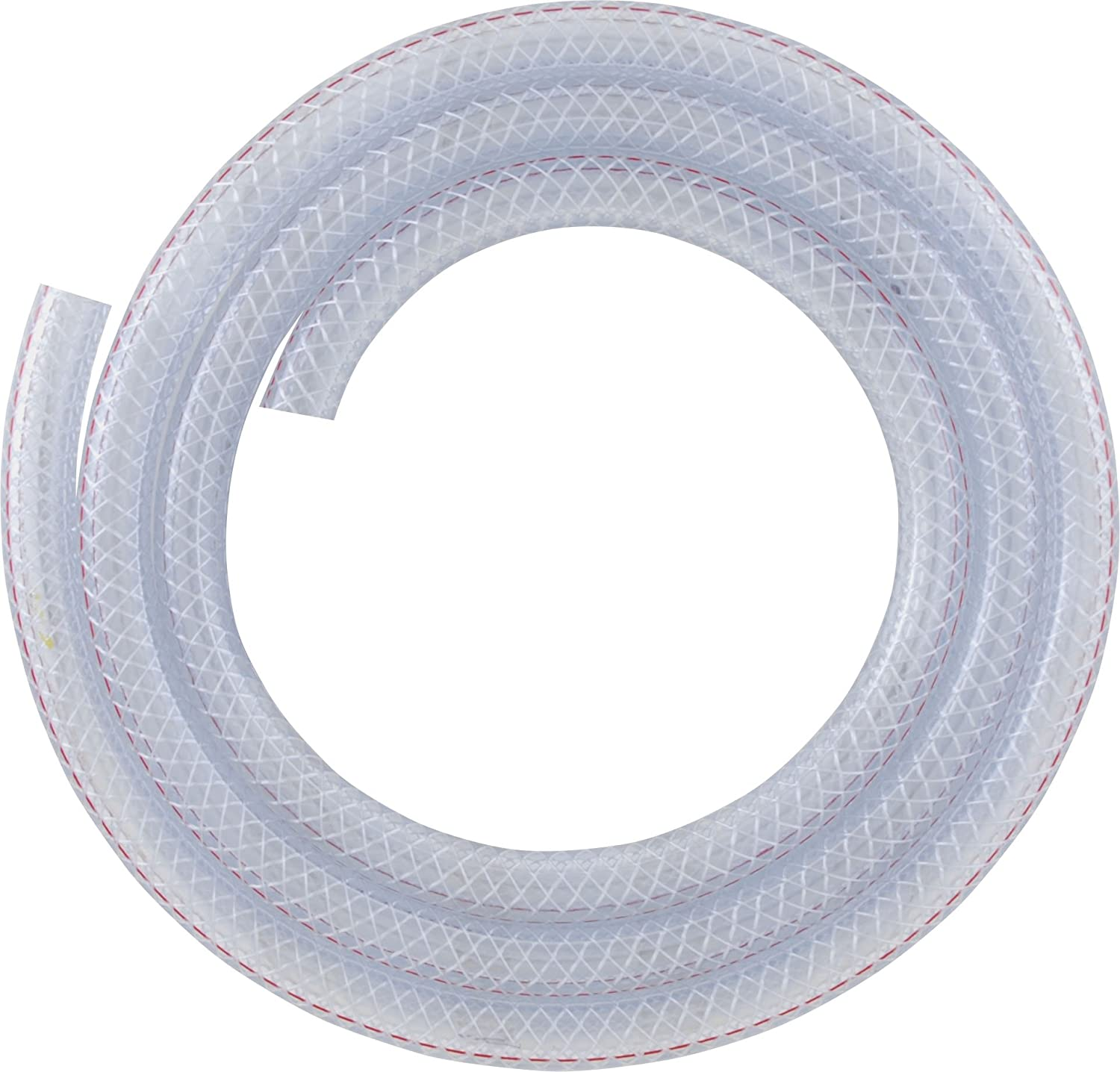 LDR Industries 516 B3810 Reinforced Clear Braided PVC Vinyl Tubing, Flexible Hose, Heavy Duty Hose, 5/8-Inch ID X 7/8-Inch OD, 10-Feet, Clear Finish