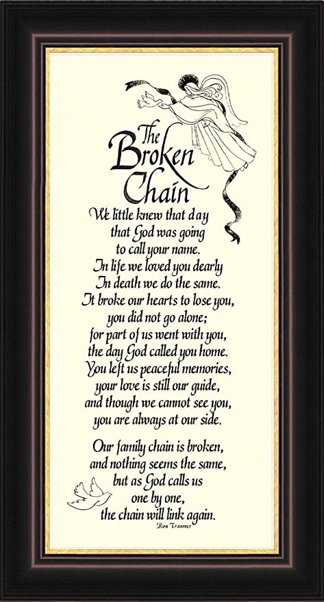Amazon.com: Broken Chain Sympathy Poem Framed Gift for Memorial ...