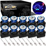 Partsam T10 194 168 Dash Instrument Blue LED Light Bulbs Bright Panel Gauge Cluster Dashboard LED Light Bulbs 10Pcs/Set…