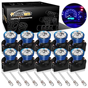 Partsam T10 194 LED Light bulb 168 LED Bulbs Bright Instrument Panel Gauge Cluster Dashboard LED Light Bulbs Set 10 T10 LED Bulbs with 10 Twist Lock Socket