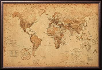 Amazon Com Framed Antique Style World Map 24x36 Poster In Rust