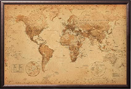 Amazon vintage world map push pin travel map premium copper vintage world map push pin travel map premium copper rust finish frame gumiabroncs Images