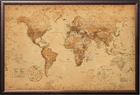 Small vintage world map pinboard king personalised antique world amazoncom vintage world map push pin travel map premium copper vintage world map pinboard sciox Images