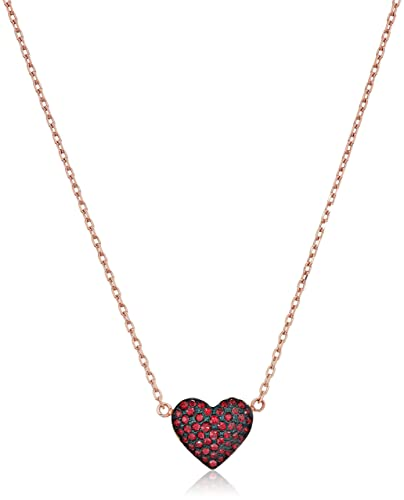 54b9ce7e0 Amazon.com: Michael Kors Women's Red Heart Pendant Necklace Rose Gold One  Size: Jewelry