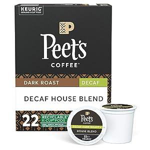 Peet's Coffee Decaf House Blend K-Cup Coffee Pods for Keurig Brewers, Dark Roast, 22 Pods