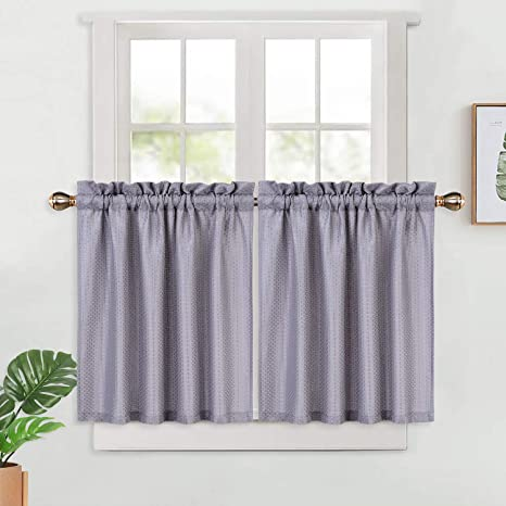 Amazon Com Haperlare Waffle Weave Textured Cafe Curtains 30 Inches Length Water Resistant Rod Pocket Short Tier Curtain For Kitchen Bathroom Window X Grey Set Of 2 Home