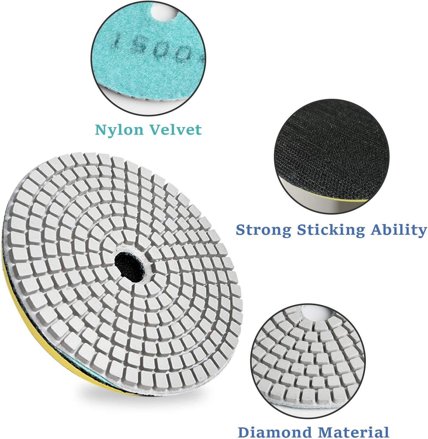 Akamino Diamond Polishing Pads 4/'/' Diameter 11 Pack Wet//Dry buffing pads with Backer Pad for Granite Concrete Stone Marble