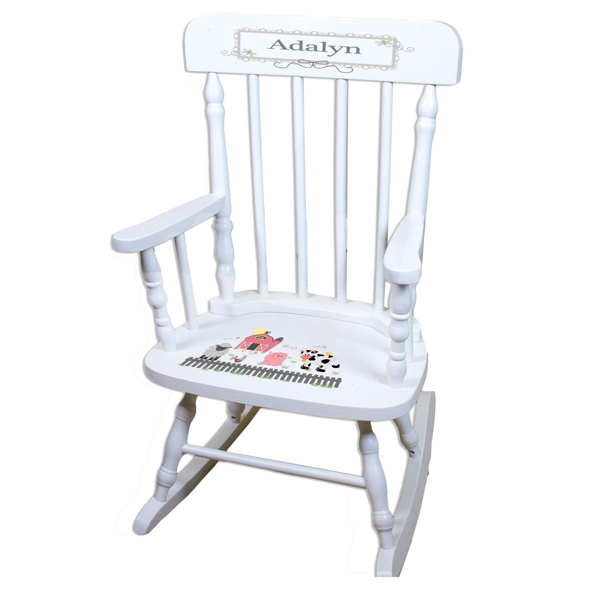 MyBambino Personalized Barnyard Friends Pastel White Wooden Childrens Rocking Chair
