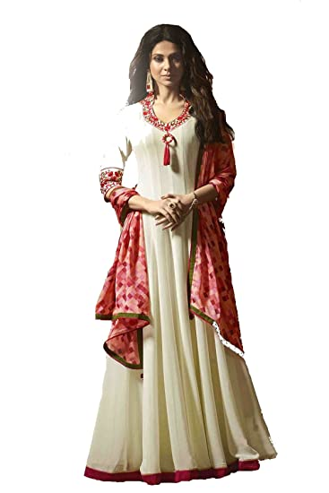 a01bed5e449 MONIKA SILK MILL Women s Georgette Embroidered Semi-stitched Anarkali Suit  with Dupatta (Mugdha-11022