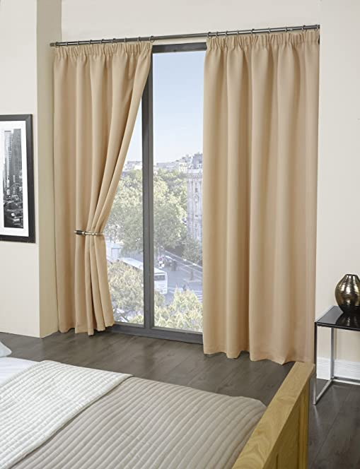 Luxury Thermal Supersoft Blackout Curtains Natural/Cream 66u0026quot; ...