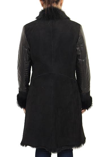 Damas negro piel de oveja grande reversible abrigo con cuello de piel y mangas de cuero: Amazon.es: Ropa y accesorios