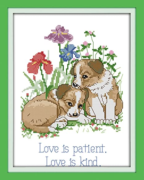 Dog Love Stamped 11CT CaptainCrafts New Stamped Cross Stitch Kits Preprinted Pattern Counted Embroidery Starter Kits for Beginner Kids and Adults