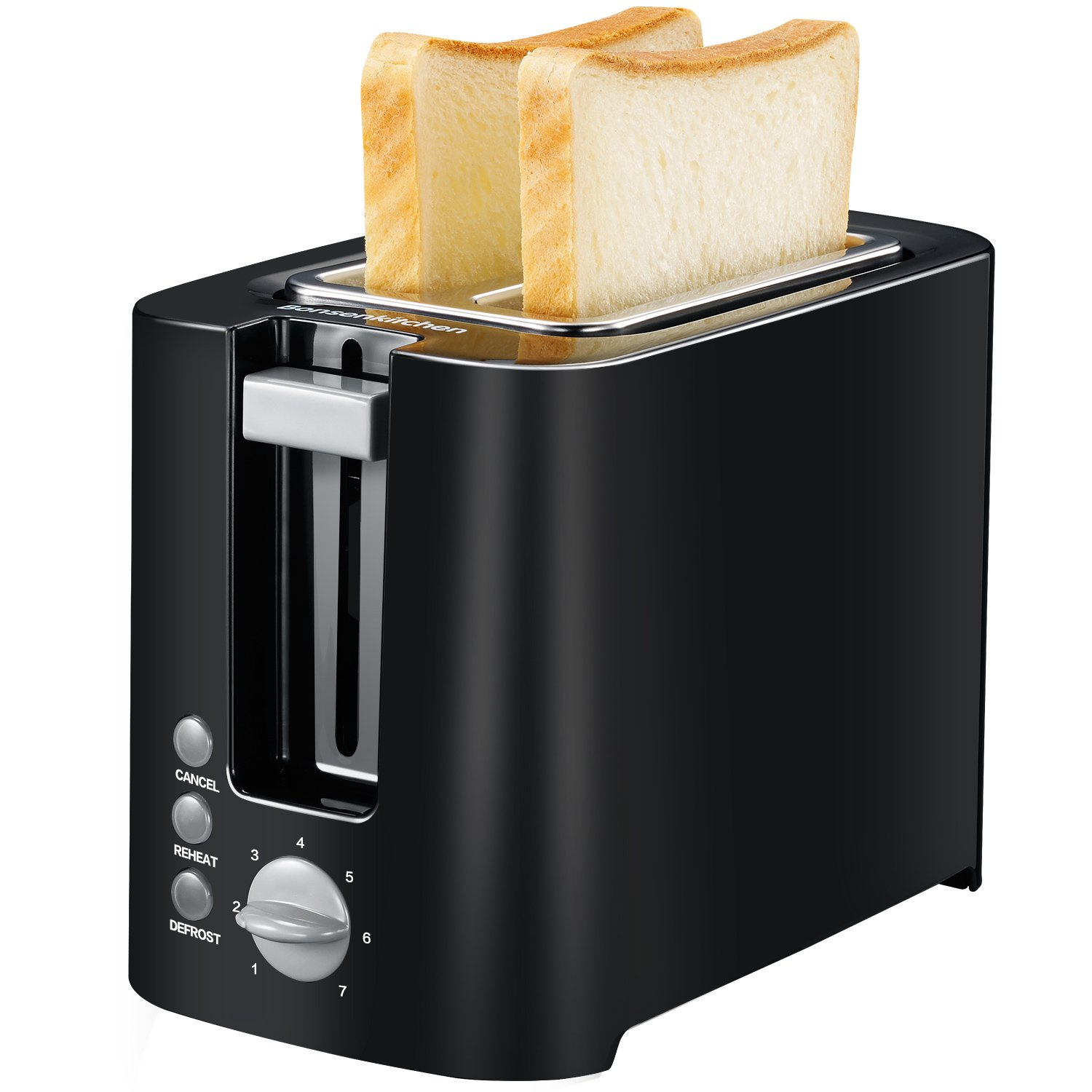 Bonsenkitchen 2-slice Black Toaster Small Compact Bread Toaster for Space Saving by Bonsenkitchen