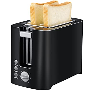 Bonsenkitchen 2-slice Black Toaster Small Compact Bread Toaster for Space Saving