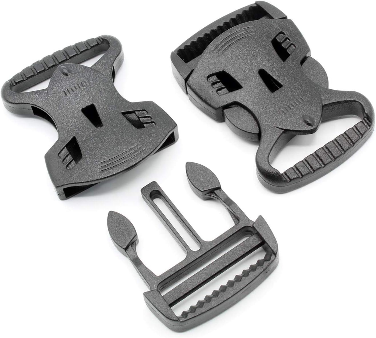HEAVYTOOL/® Steckverschluss Klippverschluss Klickverschluss Steckschnalle 20mm Schwarz geradeBeast POM Acetal 10 St/ück