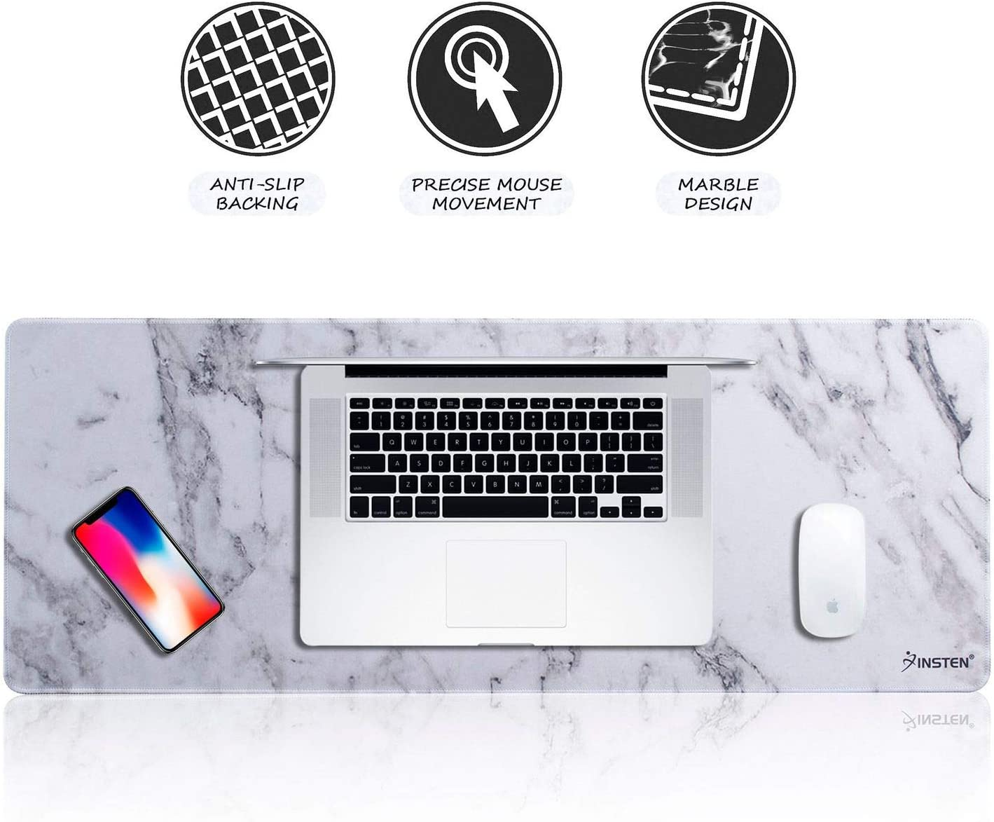 "INSTEN Extra Large Mouse Pad, Marble Extended Computer Mouse Pad XL XXL for Desktop, with Waterproof Coating, Non-Slip Base, Silky Smooth Surface, Durable Stitched Edges - 31.5"" X 12"", White Marble"