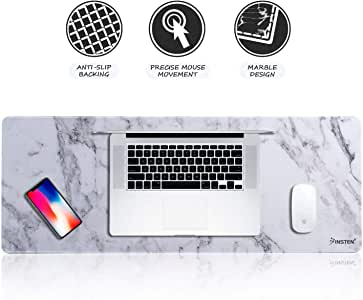 """INSTEN Extra Large Mouse Pad, Marble Extended Computer Mouse Pad XL XXL for Desktop, with Waterproof Coating, Non-Slip Base, Silky Smooth Surface, Durable Stitched Edges - 31.5"""" X 12"""", White Marble"""