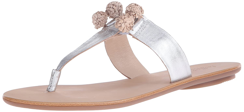 Loeffler Randall Women's Sosie-GKS Flat Sandal B01APN08US 6.5 B(M) US|Silver/Wheat