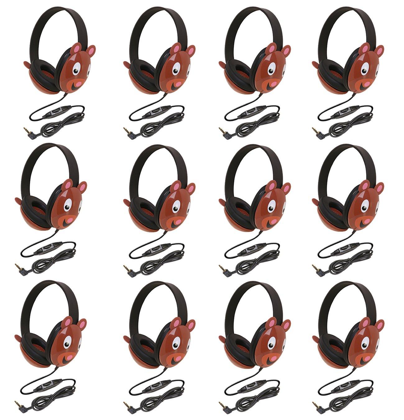 Califone 2810-BE Listening First Stereo Headphone, Bear Motif - Pack of 12
