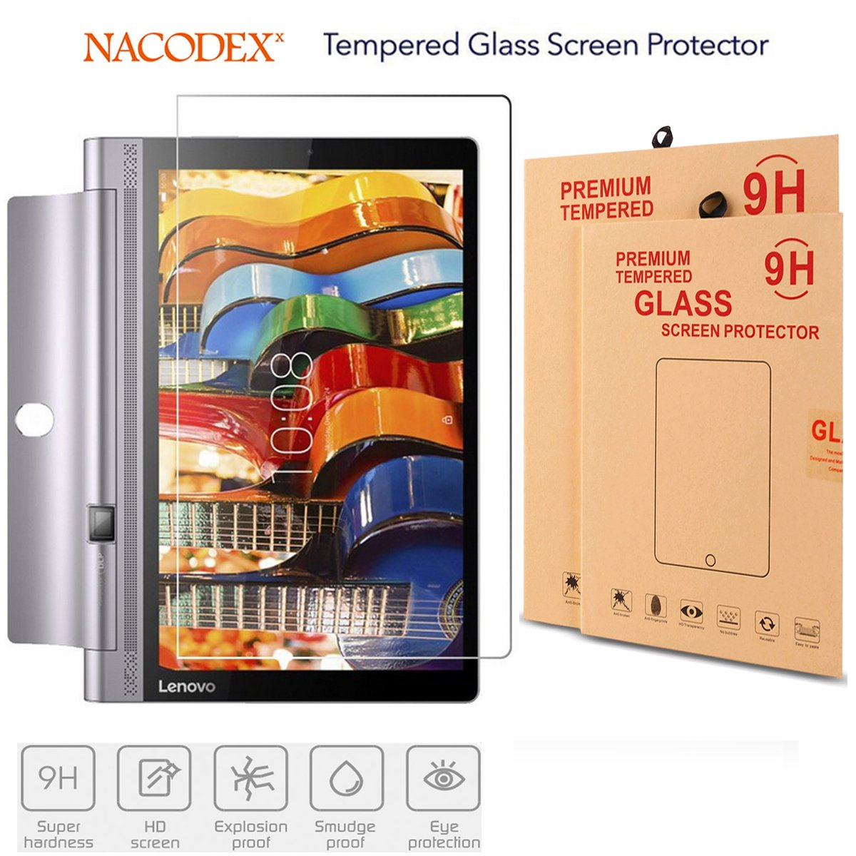 Tab 3 Pro Glass Screen Protector,for Lenovo Yoga Tab 3 Pro 10 inch Nacodex Tempered Glass Screen Protector (for Lenovo Yoga Tab 3 Pro 10 inch)