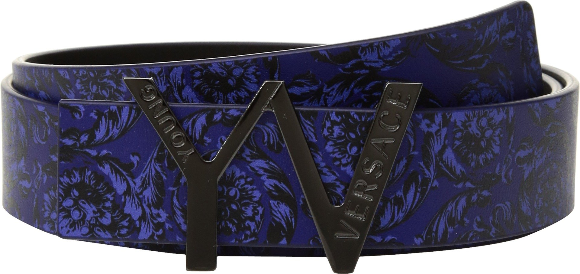 Versace Kids  Boy's 'YV' Buckle Belt w/ Barocco Design (Big Kids) Blue/Multi Belt by Versace